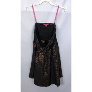 Betsey Johnson Black & Bronze Floral Strapless 10